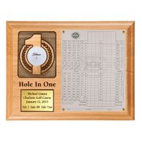 Hole In One Ball and Scorecard Plaque with Brass Plate