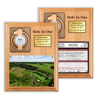 Hole In One Ball and Photo/Scorecard Plaque with Brass Plate