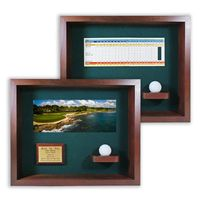 Hole-In-One Ball & Photo/Scorecard Shadow Box - Cherry
