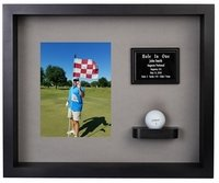 Hole In One Ball & Vertical Photo Shadow Box Display - Black