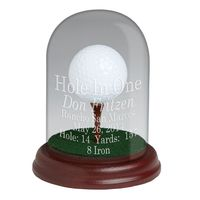 Glass Dome Trophy with Tee for Eagle, Double Eagle & Best Round - Cherry