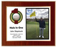 Hole In One Horizontal Laminated Plaque - Red Mahogany