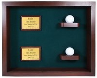 Two Balls and Plaques Shadow Box Display-Cherry