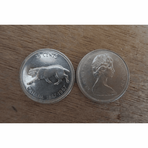 """1967 Canadian """"Lynx"""" Silver Quarters ~ 120 pieces available"""
