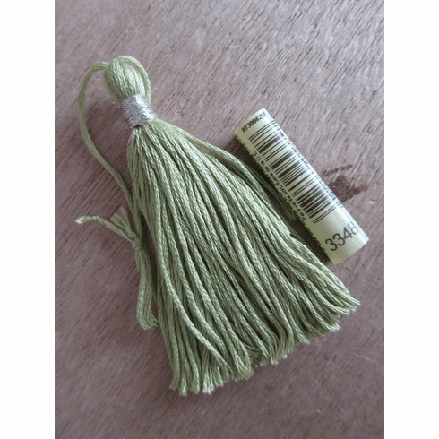 """3"""" Tassels, Handmade with DMC Egyptian Cotton in Light Yellow Green (DMC-3348), wrapped with DMC Metallic Silver"""