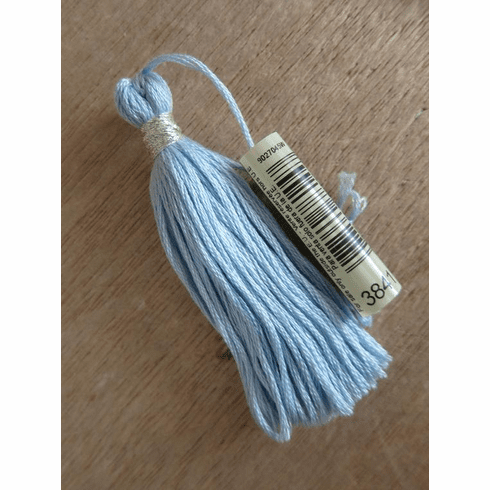 "3"" Tassels, Handmade with DMC Egyptian Cotton in Pale Baby Blue (DMC-3841), wrapped with DMC Metallic Silver"