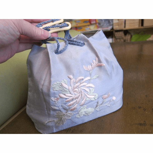 Antique, Handmade Drawstring Purse or Bag, Silk, Crewel Embroidery is worked by hand ~ Please see Description for Condition Information