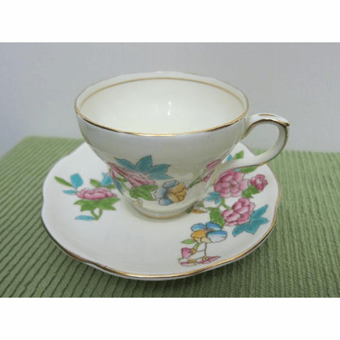 EB Foley, Tea Cup & Saucer, Hand-Painted Pink Roses and Rosehips, Backstamp used from 1948 until 1963