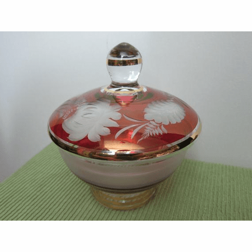 Lidded Dish, Cranberry Flash cut to Clear Crystal with wide, 24kt Gold Bands ~ circa 1950s