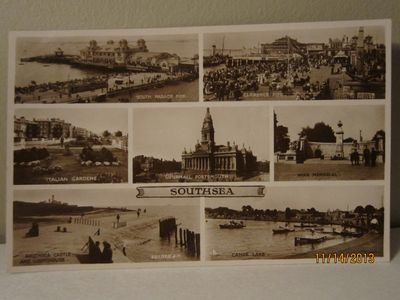 """""""Southsea"""" Photo Collage Postcard, published by Valentines, circa 1910s"""