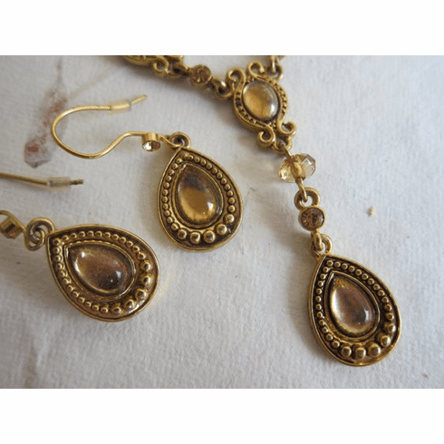 """Vintage Avon Necklace and Matching Earrings, Signed """"Avon SH"""", circa 1980s - Please see Description for Condition Information"""