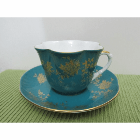 Vintage, Crown Staffordshire, Tea Cup & Saucer, circa 1930s, Deep Teal Green with Gold Floral