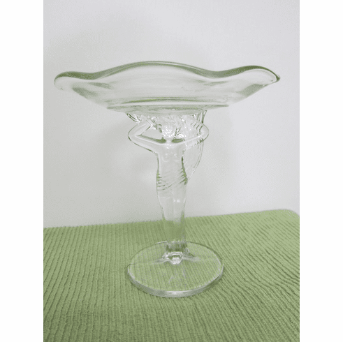Vintage ~ Depression Glass Pedestal Dish with Partially Nude Woman ~ circa 1930s