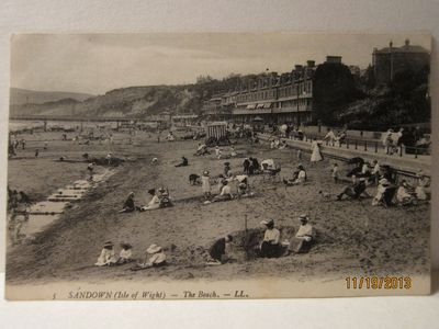 """Sandown (Isle of Wight) - The Beach, - LL.""  -  Vintage Postcard, Lucien (Louis) Levy, photographer"