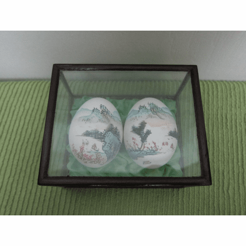 Vintage Watercolor Paintings on Eggs, Signed, Lacquer and Glass Case - Please see Description for more Information