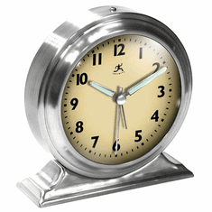 Boutique Silver Alarm Mantel Clock by Infinity Instruments