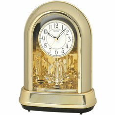Crystal Dulcet II Champagne Gold Mantel Clock by Rhythm