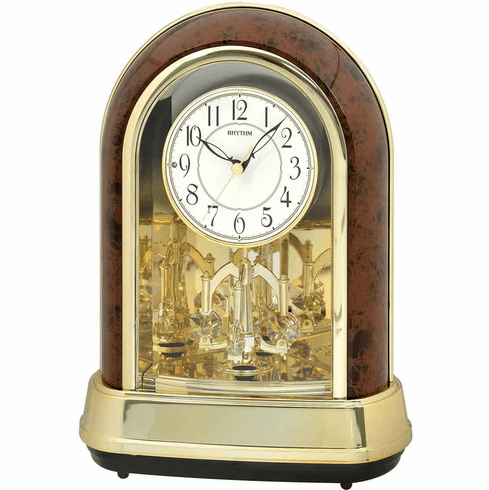 Crystal Dulcet II Woodgrain Mantel Clock by Rhythm