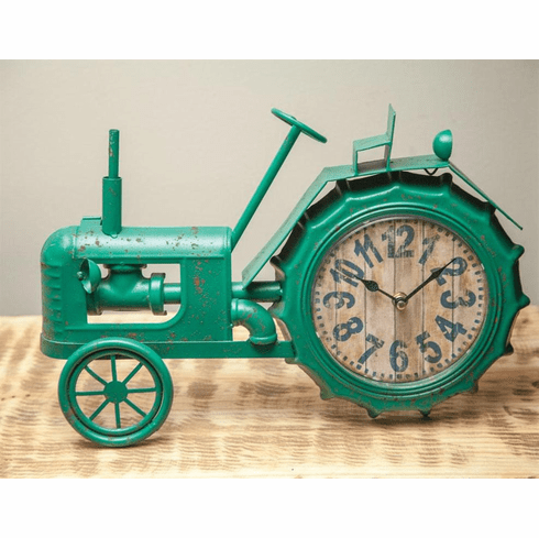 Green Tractor Table Clock