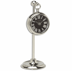 Pocket Watch Nickel Marchant Black Mantel Clock by Timeworks
