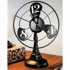Retro Fan Black Mantel Clock