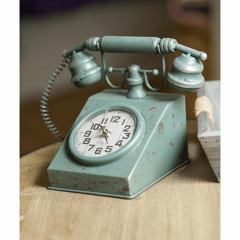 Retro Telephone Table Clock by Manual Woodworkers and Weavers