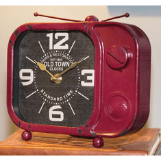Retro TV Red Table Clock by Manual woodworkers and Weavers