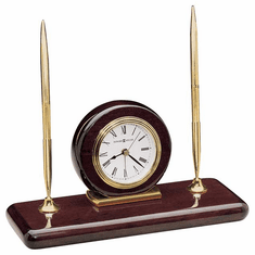 Rosewood Desk Clock with Alarm by Howard Miller