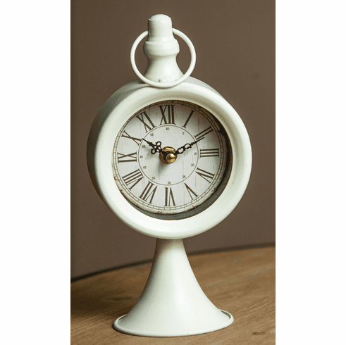 Round Pedestal Cream Table Clock by Manual Woodworkers and Weavers