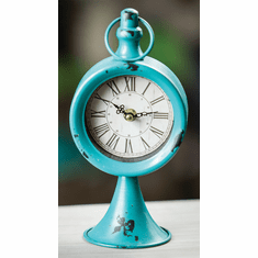 Round Pedestal Turquoise Table Clock by Manual Woodworkers and Weavers