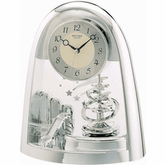 Silver Space in Motion Mantel Clock by Rhythm