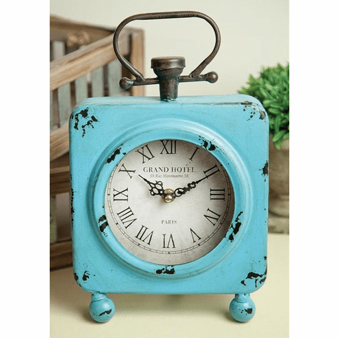 Turquoise Table Clock by Manual Woodworkers and Weavers