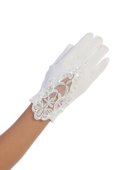 Communion Girls Gloves-with or with-lace and beading
