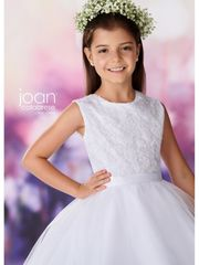 Joan Calabrese-119395 Communion Dress Embroidery & Beads Half Sizes Available