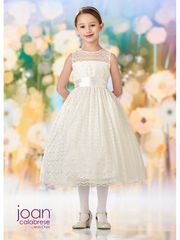 Joan Calabrese-218350 Navy Flower Girl Dress Lace & Satin