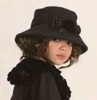 """Kate Mack * """"Coat Couture"""" Black Wool Hat*  7 to 12"""