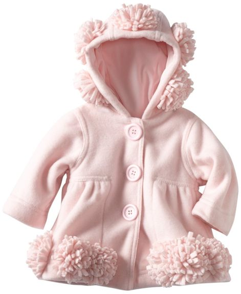 Kate Mack *Left Bank* Beautifuul Pink Hooded Polar Fleece Coat - Sizes  3m & 18M