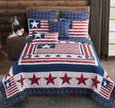 Patriot Star Red White Blue Flag Quilt Set