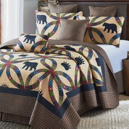 Black Bear Paw Wedding Ring Quilt Set