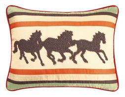 Galloping Horses Hooked Wool Pillow (1 left in stock)