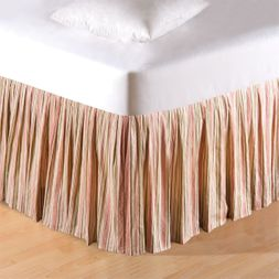 Garden Dream Pink and Sage Stripe Bedskirt