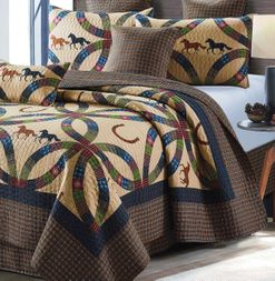 Horse and Horseshoe Wedding Ring Quilt Set