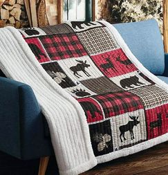 Lodge Life Buffalo Plaid Quilted Sherpa 50x60 Throw