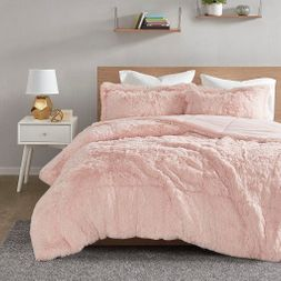 Minky Plush Faux Fur Pink Comforter Set