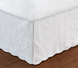 White Paisley Quilted Bedskirt Ruffle