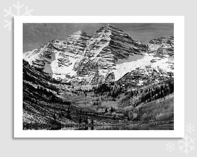 "MAROON BELLS, NEAR ASPEN, CO  - ANSEL ADAMS HOLIDAY CARD ""SEASON'S GREETINGS"""