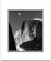 "ANSEL ADAMS - MOON & HALF DOME, YOSEMITE NAT'L PARK  Large Ansel Adams Matted Reproduction (16"" x 20"")"