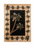 Black/Beige Palm Tree Rug 2318A