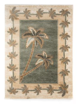 Bone/Green  Bahamas Palm Tree Rug 2318A