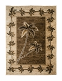 Dark Beige/Bone Bahamas Palm Tree Rug 2318A